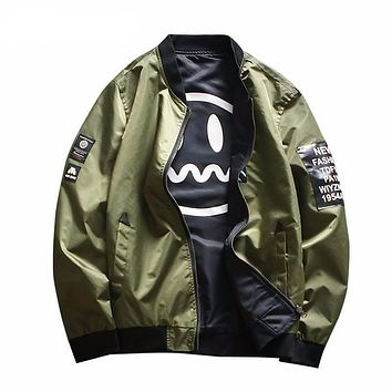 Emoji Face Interior Fashion Bomber Jacket