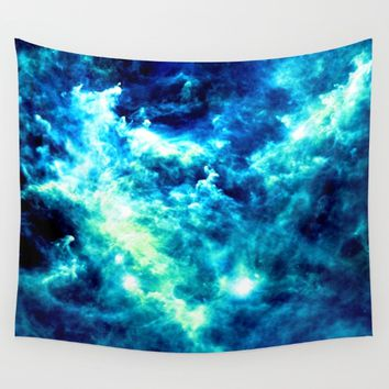 stormy nebula clouds turquoise blue Wall Tapestry by GalaxyDreams