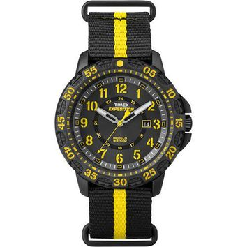 Timex Expedition Gallatin Watch - Black Slip-Thru Strap/Yellow Accents