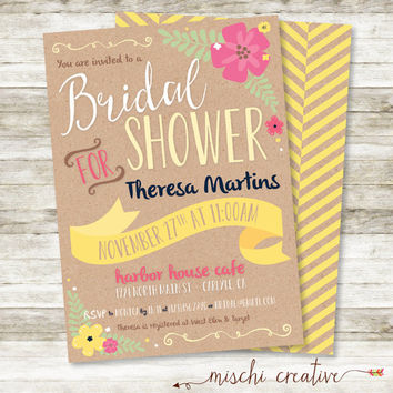 "Sunny Yellow Floral and Kraft Rustic Shabby Chic Feminine Bridal Shower DIY Printable Invitation, 5"" x 7"""