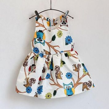 Stylish Chic Kids Baby Girls Dress Sleeveless Owl Print Tutu Dresses One Piece Party Clothes