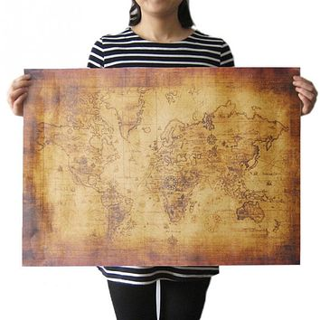 The Old World Map 70cX50cm Large Vintage Style Retro Kraft Paper Poster Gifts Home decoration Globe