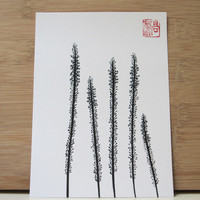 Ink drawing of Squill, Japanese style art print