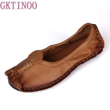 2017 Hot selling Handmade vintage women's shoes genuine leather female moccasins loafers soft outsole casual shoes flats
