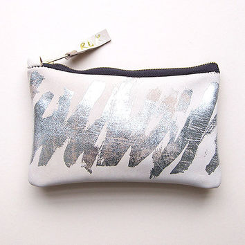 Leather Scumble Make Up / Zip Purse in Nude and Silver by Rosie Drake Knight
