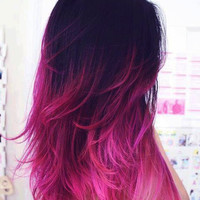 """Ombre//Dip Dye//Mini Panels//Black Fading into Vibrant Pink//Re-usable Indian Remy Hair//(20)Pieces//18"""""""