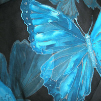 I will paint you cyan blue turquoise morpho butterflies or any other design on the silk scarf, VIP service FREE SHIPPING