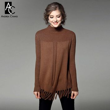 Autumn winter runway designer woman sweaters dark brown khaki army green knitted sweater tassel bottom fashion casual sweater