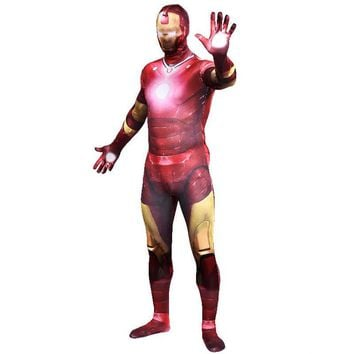 High Quality Men's Spandex Avenger Ironman Cosplay Costumes Adults Lycra Zentai Male Suits Halloween Iron Man Costume Bodysuit