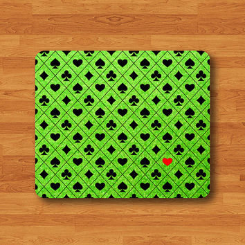 Personalized Casino Card Suit Coasters Pattern Mouse Pad Game Night Party Green MousePad Soft Fabric Rubber Desk Deco Custom Christmas Gift