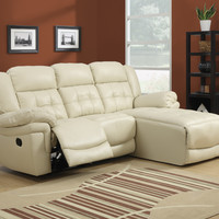 Sofa Lounger - Sand Bonded Leather / Reclining