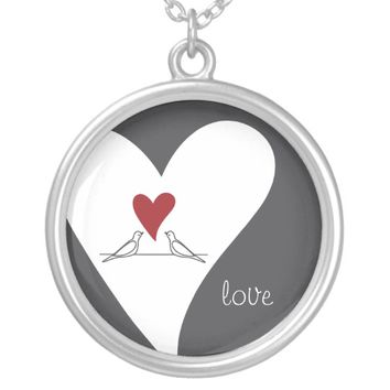 Red Heart Love Birds Rustic Modern Personalized Silver Plated Necklace