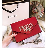 "Hot Sale ""PRADA"" Popular Women Shopping Bag Leather Metal Chain Crossbody Satchel Shoulder Bag Red"