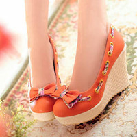 YESSTYLE: Smoothie- Bow-Accent Stitched Wedges - Free International Shipping on orders over $150