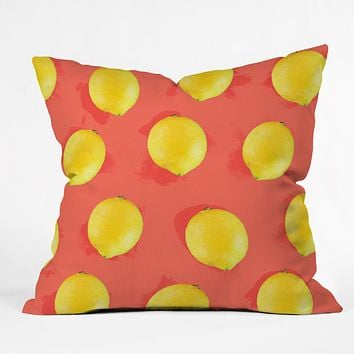 Jacqueline Maldonado Watercolor Lemons Throw Pillow