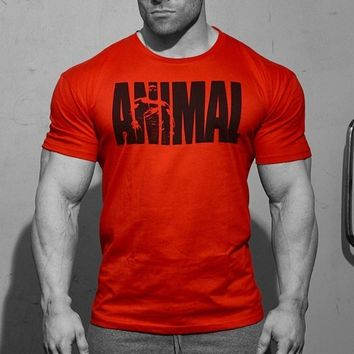 Men's Professional Fitness Letter Printed T Shirt Iconic Athletic Crew Neck Tee Gym Musclefit Workout Clothes
