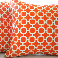 Mandarin orange geometric pillow cover 20 x 20
