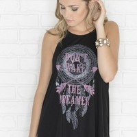 Black Don't wake the dreamer high neck tank