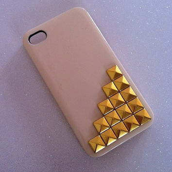 Tan x Gold Studs iPhone 4 4s Case