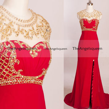 Custom Made O Neck Beading Prom Dresses,long prom dresses,prom dresses,prom dress,prom dresses long,evening dresses,long evening dress,party