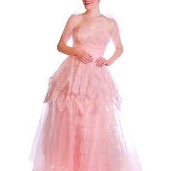 Vintage Full Length Dress Pink Prom Gown Frothy Lace & Tulle 1940s Small