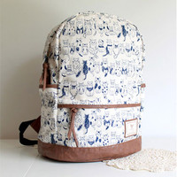 Lovely Sweet leisure Cat Print Backpack
