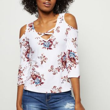 173495fedec12 White Super Soft Floral Print Cold Shoulder Top