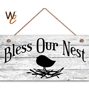 """Bless Our Nest Sign, Door Sign, Shabby White Wood Background, Weatherproof, 5"""" x 10"""" Sign, Bird and Nest Plaque, Made To Order"""