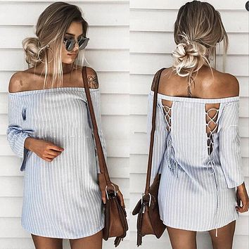 Fashion Casual Back Hollow Off Shoulder Long Sleeve Stripe Mini Dress