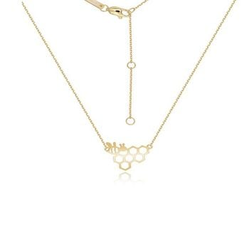 SALE 18k Yellow Gold Bee & HoneyComb Pendant Necklace