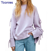 Fashion Loose Harajuku Hoodies Women 2017 Autumn Pullovers Solid Sweatshirt Oversize Sudadera Mujer Straps Bow Tie Vintage Tops-in Hoodies & Sweatshirts from Women's Clothing & Accessories on Aliexpress.com | Alibaba Group
