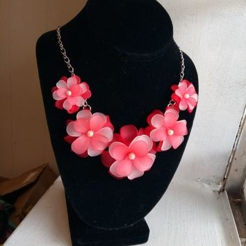 Pink Flower Necklace Resin Silver Chain