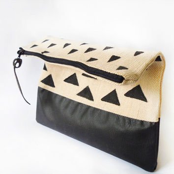 Foldover clutch purse, Hand painted , canvasand leather, Tribal pattern, Triangles