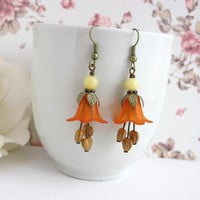 Orange Lucite Floral Ear Jewelry. Nature Woodland Dangle Flower Earrings.Caramel Heart Drops Earrings. Bridal Wedding Bridesmaid Gift