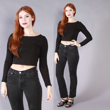 Vintage 90s Black JEANS / 1990s High Waisted Fitted Levi's Jeans xs