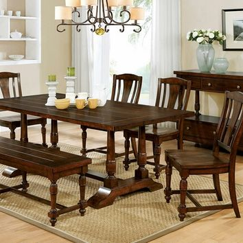 6 pc Griselda collection transitional style rustic plank walnut finish wood dining table set