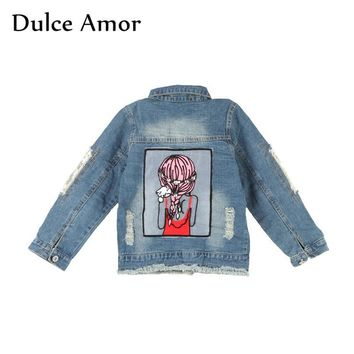 Trendy Dulce Amor Baby Girl Jacket Clothes Hole Denim Coat Autumn Fashion Sequins Little Girl Design Kids Denim Outerwear For 1-12Y AT_94_13