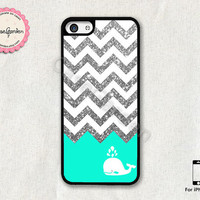 Glitter Chevron Mint Whale iPhone 5C Case, iPhone Case, iPhone Hard Case, iPhone 5C Cover