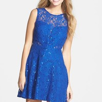 Junior Women's Hailey Logan Sequin Lace Illusion Skater Dress