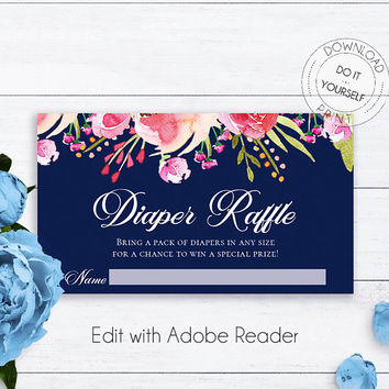 Navy Blue Baby Shower Diaper Raffle Ticket, Editable Floral Baby Shower, DIY Baby Shower Raffle, PDF Diaper Raffle Cards, Printable Baby