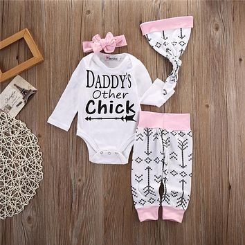 Autumn Baby Set 4PCS Newborn Baby Little Girl Romper Arrow Daddy's Other Chick Tops +Long Pants+Hat+Headband Outfit Clothes Set