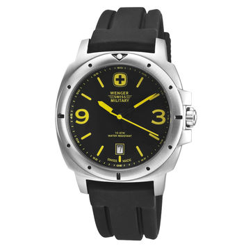 Wenger 79364 Men's Military Expedition Rubber Strap Stainless Steel Black Dial Watch