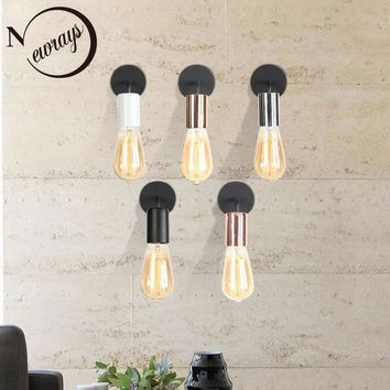 Simple modern iron wall lamp LED E27 vintage wall light with 5 colors for bedroom office aisle corridor washroom living room bar