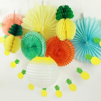 Pack of 9 Summer Party Decoration Set (Lantern,Paper Fans,Pineapples Garland) Tropical Hawaiian Birthday Bridal Show Pool Party