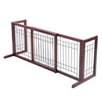 Wood Dog Gate Adjustable Indoor Solid Construction Pet Fence Playpen Free Stand