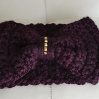 Crochet Turban Headband Earwarmer in Eggplant