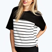 Kitty Striped Panel Boxy Shell Top