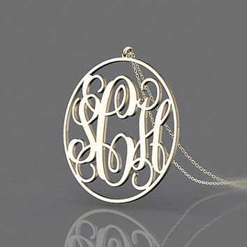Inexpensive monogram necklace -1 inch plated in gold --circle monogram necklace jewelry