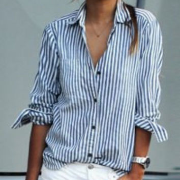 Blue and White Striped Printed Long Sleeve Blouse