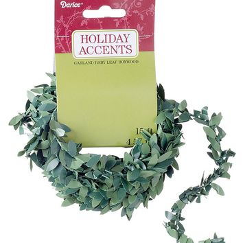 Artificial Mini Boxwood Leaf Christmas Garland - 15' Long